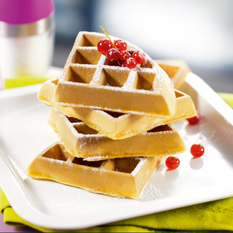 Soft waffles with rice drink