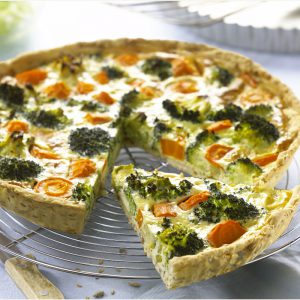 Carrot and Broccoli Tart with Délice Rice and Multi-Grain Pastry