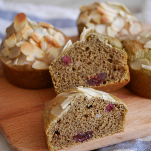 Matcha tea cranberries and almond muffins