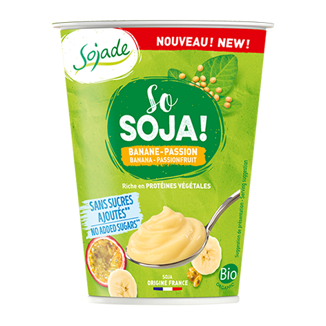 Sojade So Soya – No Added Sugar banana and passionfruit soya yogurt alternative 400G